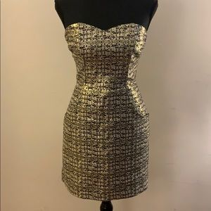 Strapless Gold, Bronze & Black Dress w/ Pockets